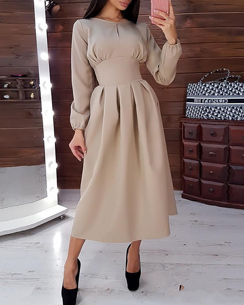 Solid Tight Waist Casual Midi Dress фото