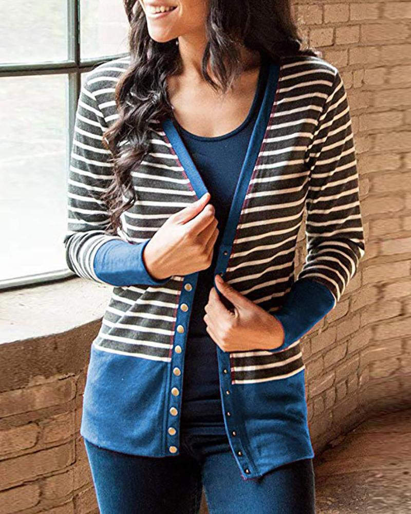 Contrast Binding Striped Buttoned Cardigan, Blue