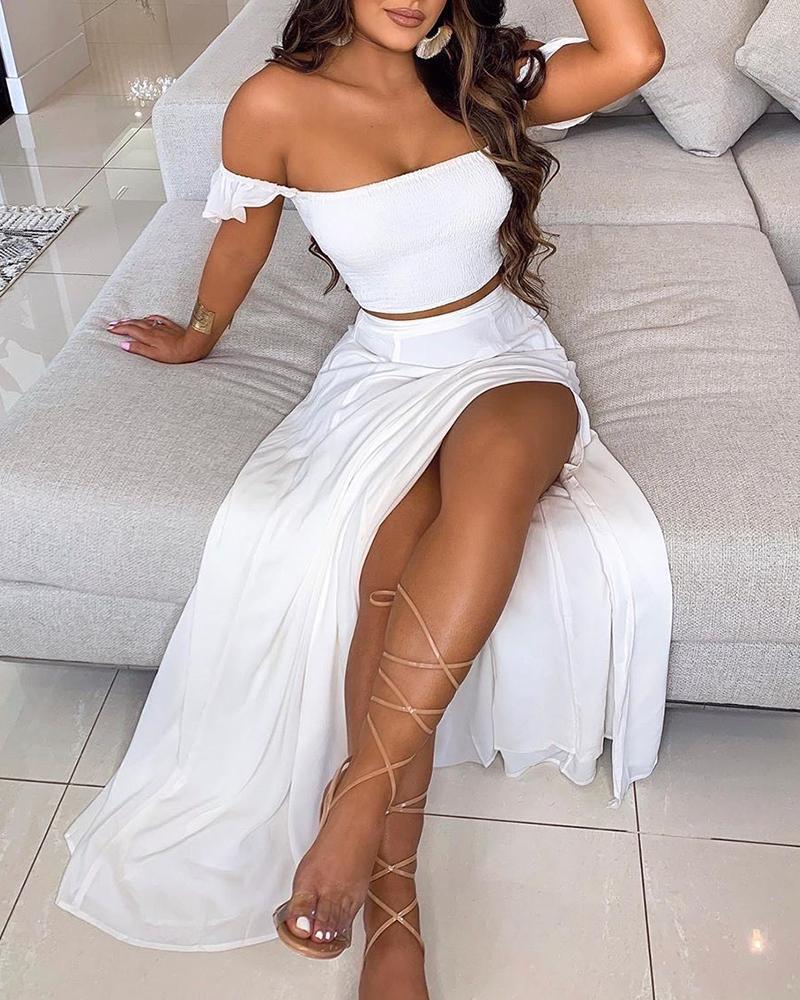 Off Shoulder Ruffles Top & Thigh Slit Skirt Sets фото