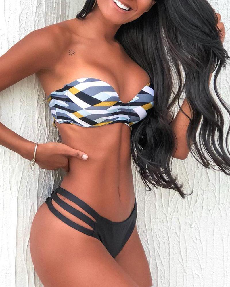 Striped Bandeau Cutout Bikini Set фото