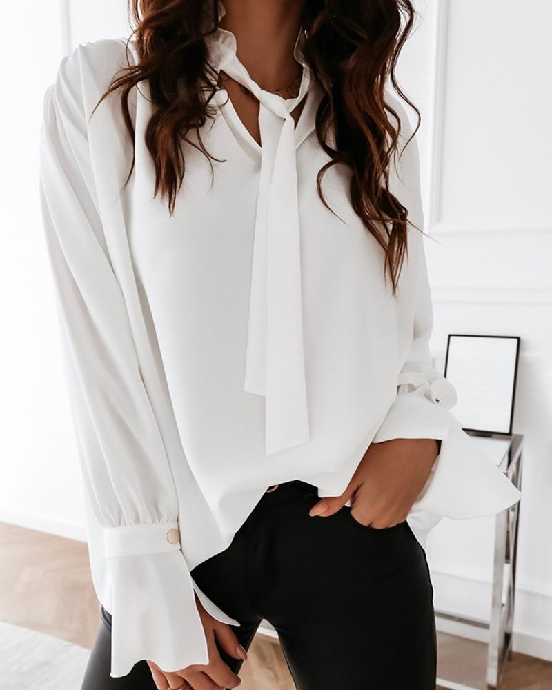 Solid Tied Neck Long Sleeve Shirt фото