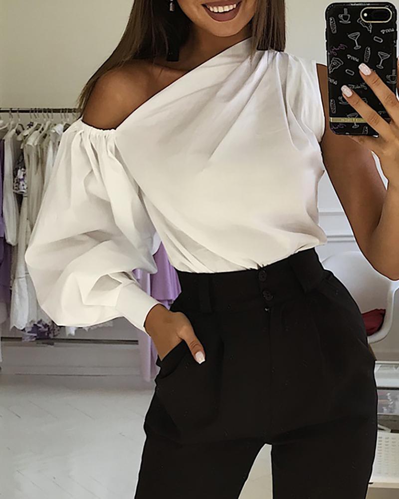 chicme / Blusa de manga linterna sólida de un hombro