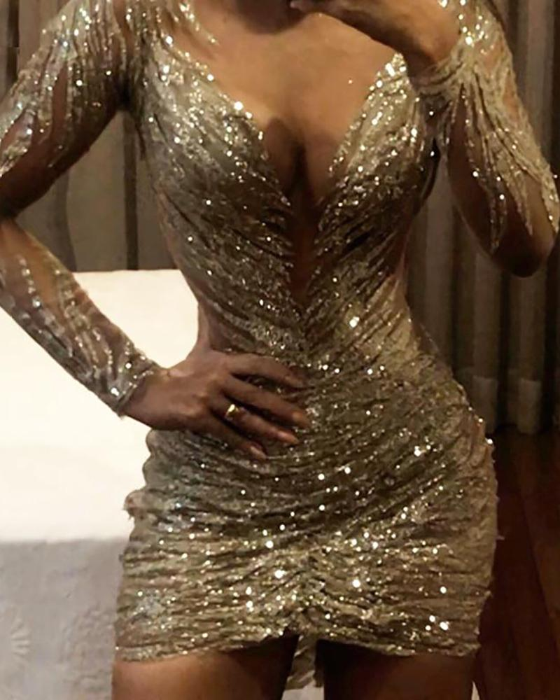 boutiquefeel / Vestido ajustado de lentejuelas con diseño fruncido