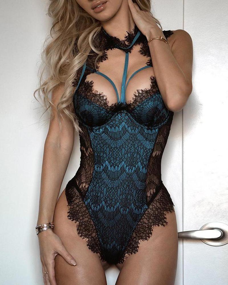 boutiquefeel / Bodysuit acolchoado malhando de fascínio do laço