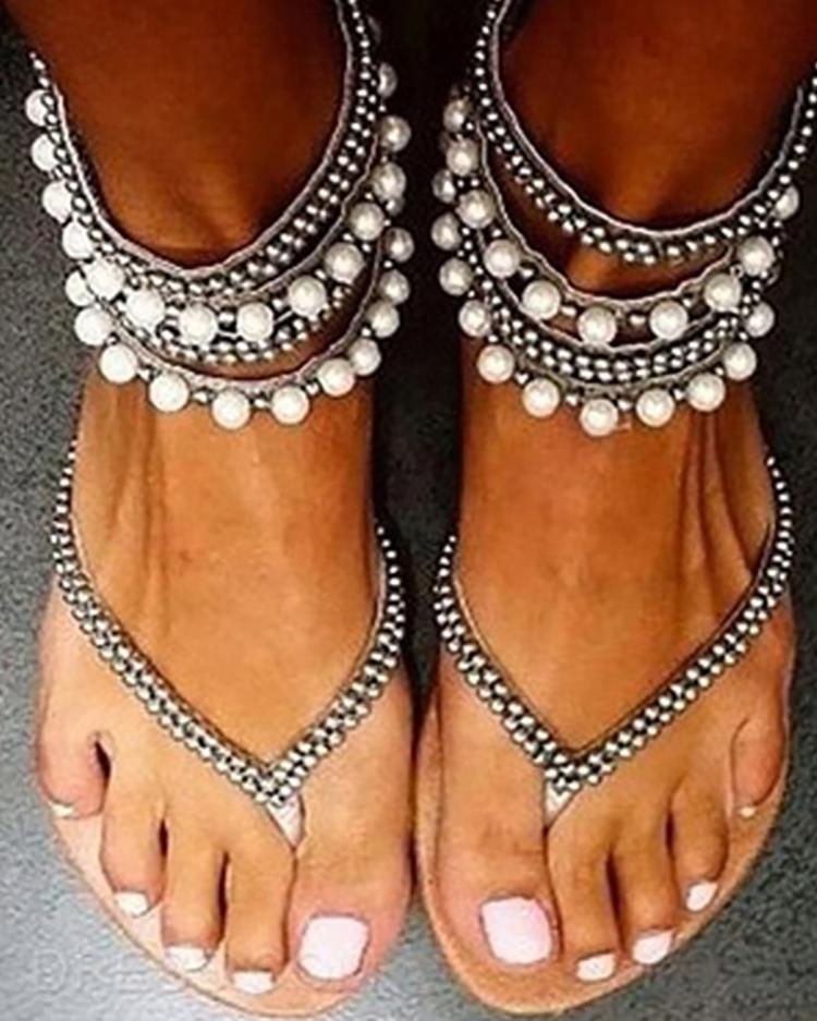 Stylish Beading Embellished Ankle Strap Flip-flop Sandals