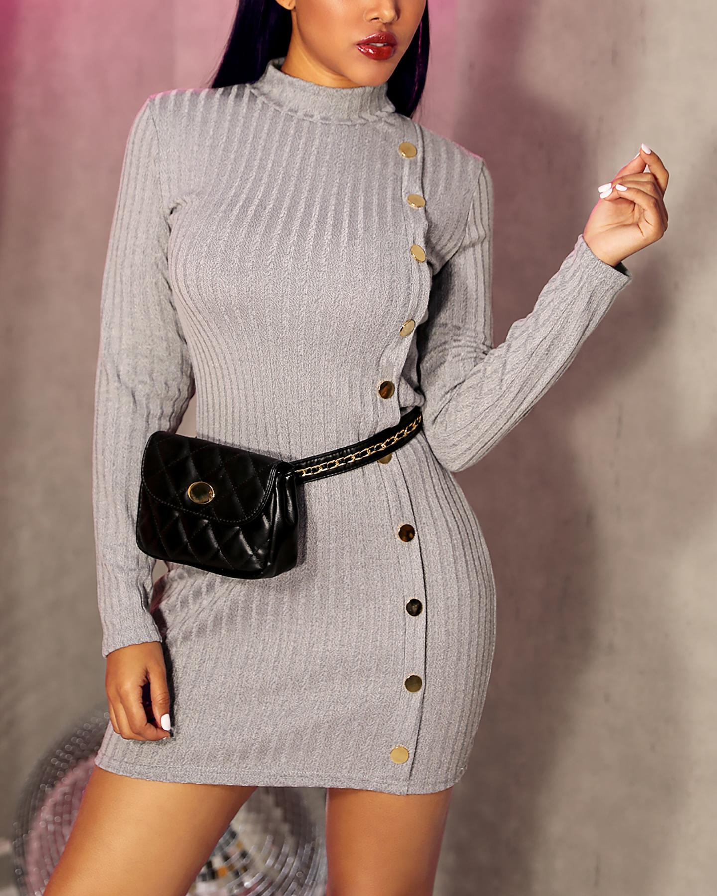 Solid Mock Neck Long Sleeve Ribbed Buttoned Bodycon Dress фото