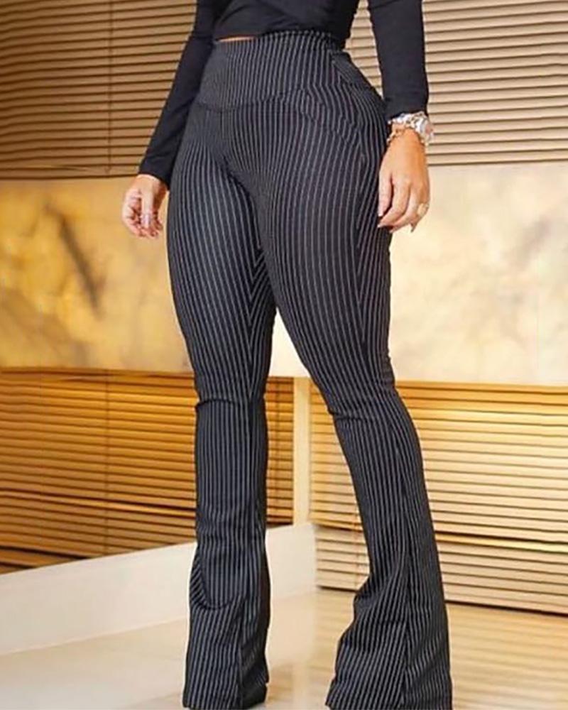 joyshoetique / Striped High Waist Bell-Bottom Pants