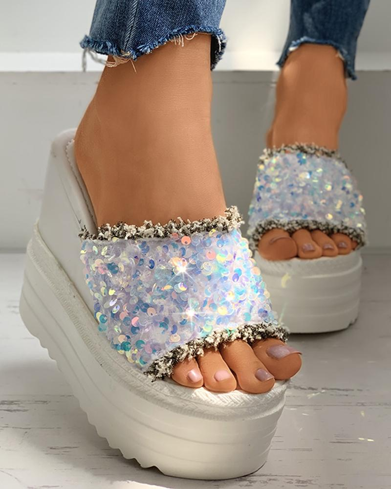 Peep Toe Sequins Fringe Hem Wedge Heeled Sandals фото
