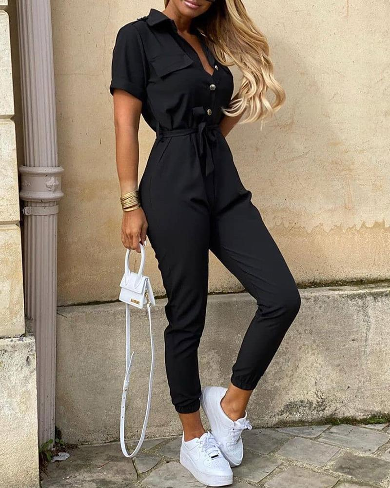 Solid Short Sleeve Bottoned Jumpsuit фото