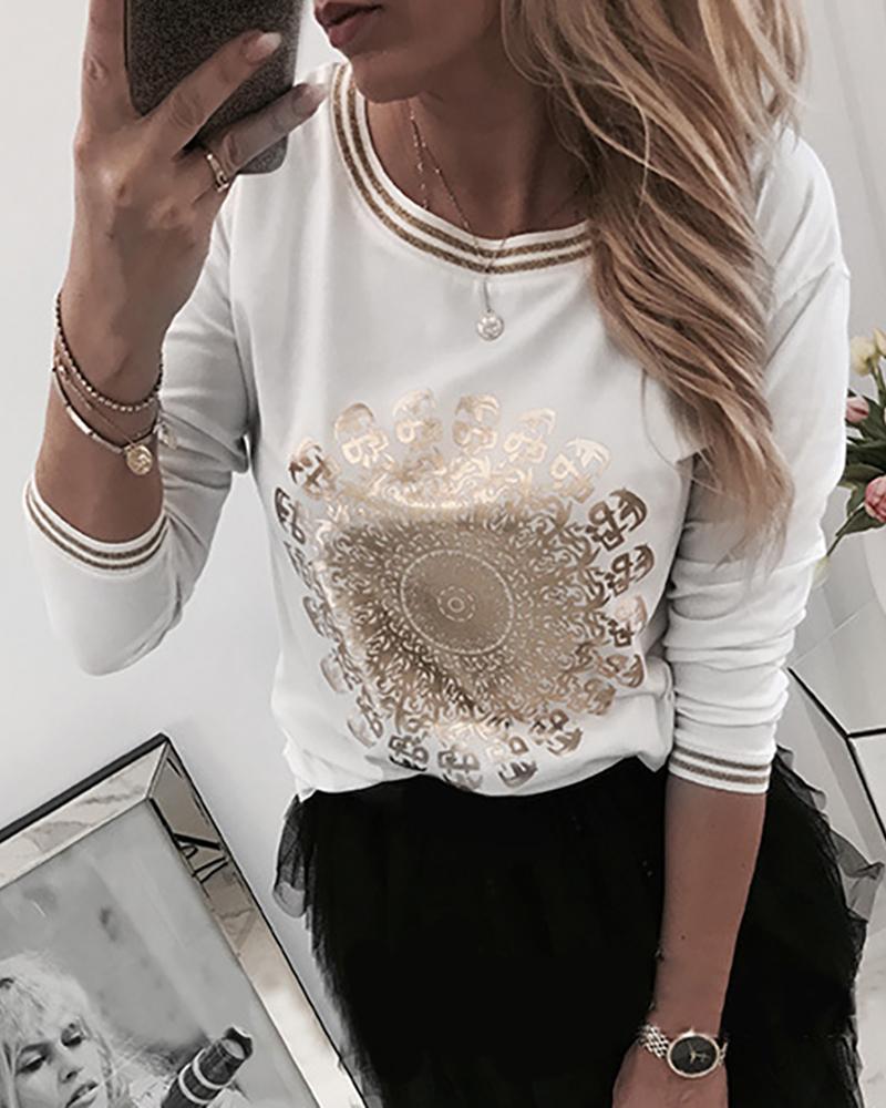 chicme / Blusa casual con parche de manga larga