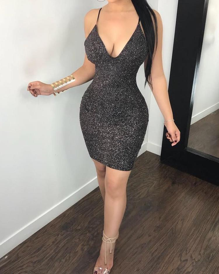 Glittering Low Cut Caged Back Bodycon Dress фото