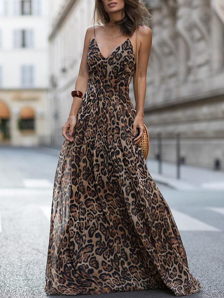 ivrose / Leopard V Neck Spaghetti Strap Maxi Dress