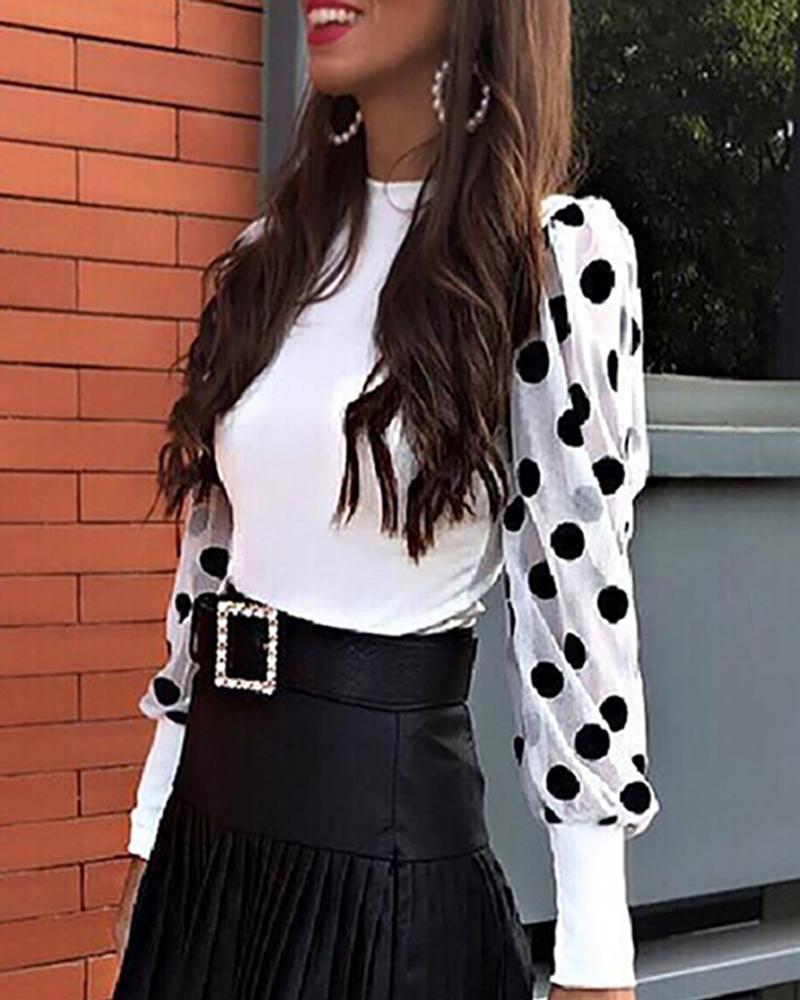 boutiquefeel / Polka Dot Puff Sleeve Mesh Insert Blusa
