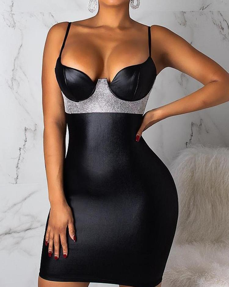 Spaghetti Strap Gem-Studded Bodycon Dress