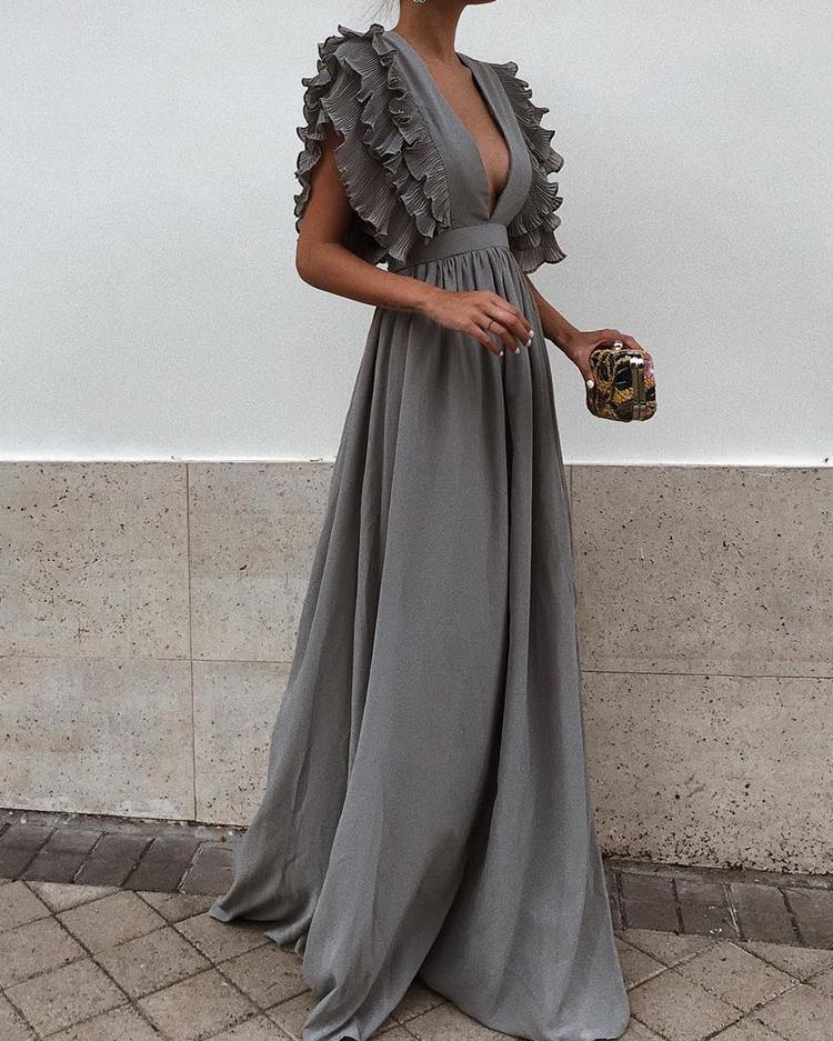 chicme / Mergulhar Layered Ruffles Detalhe Ruched Maxi Dress