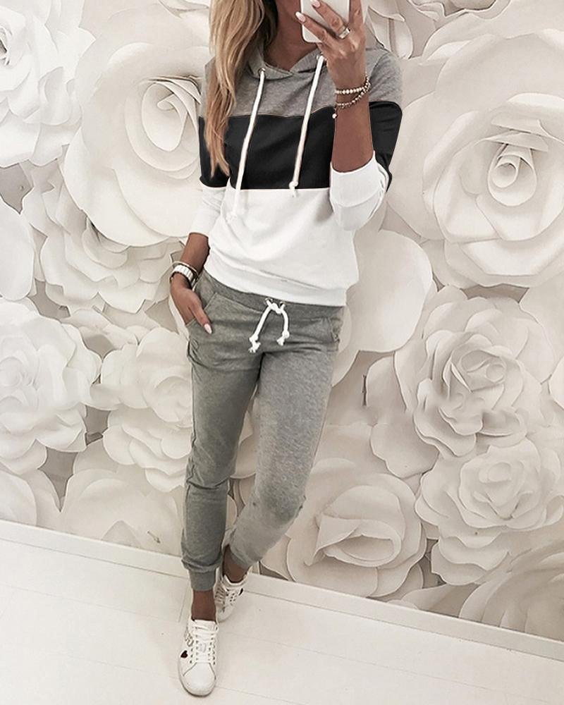 chicme / Design com cordão Colorblock Top com capuz e calça conjuntos