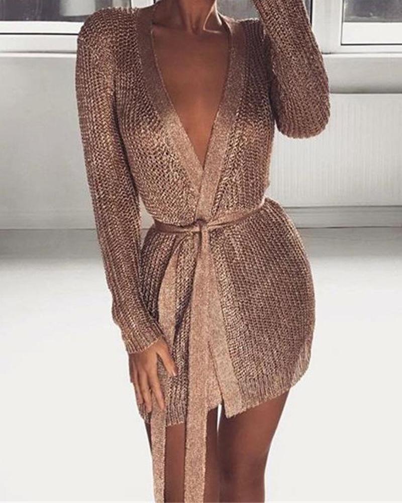 Glitter Long Sleeve Tight Waist Dress фото
