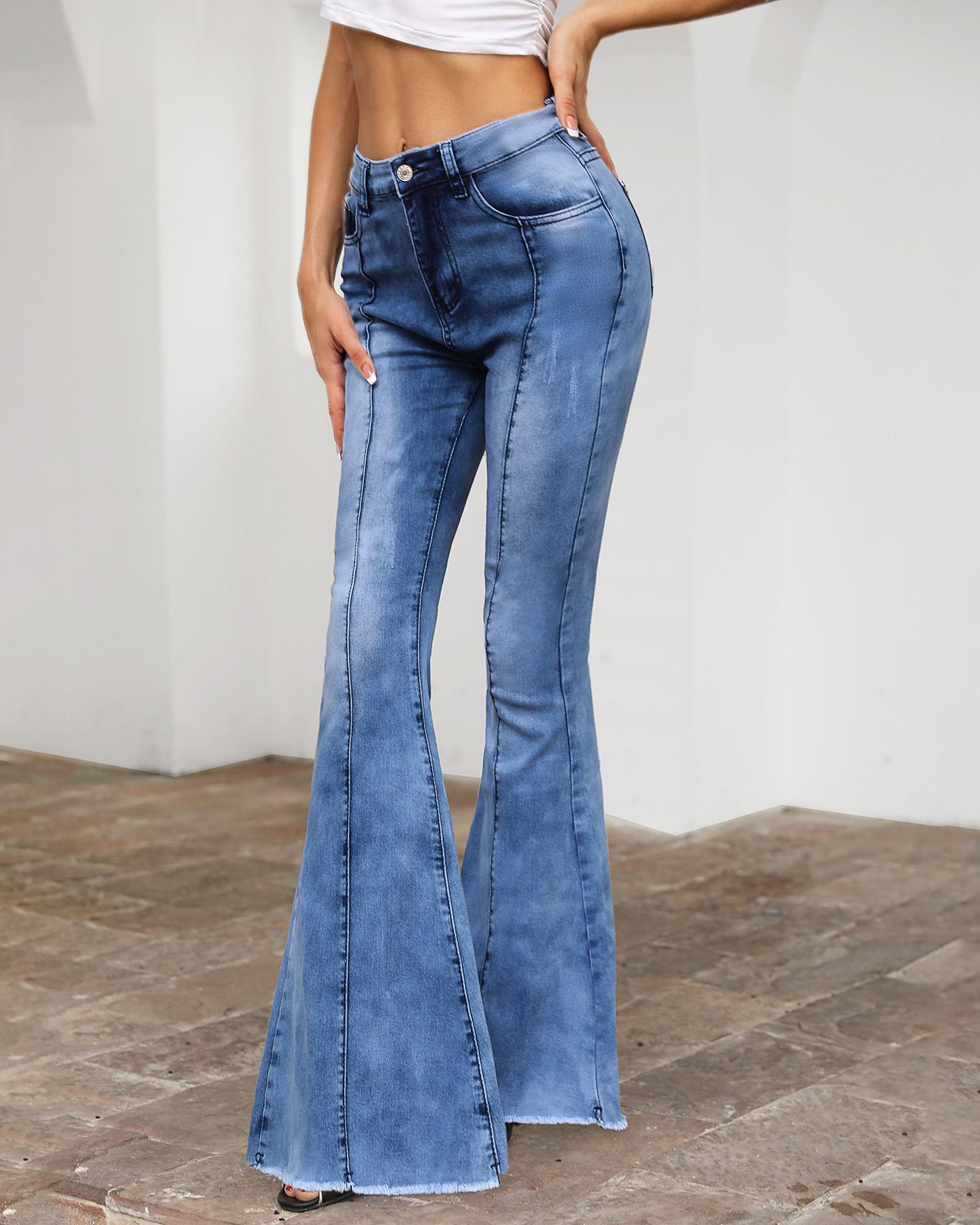 High Waist Pocket Bell-Bottom Jeans