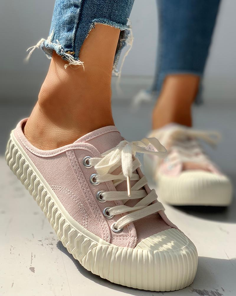 Eyelet Lace-Up Pattern Epadrille Sneakers, Pink