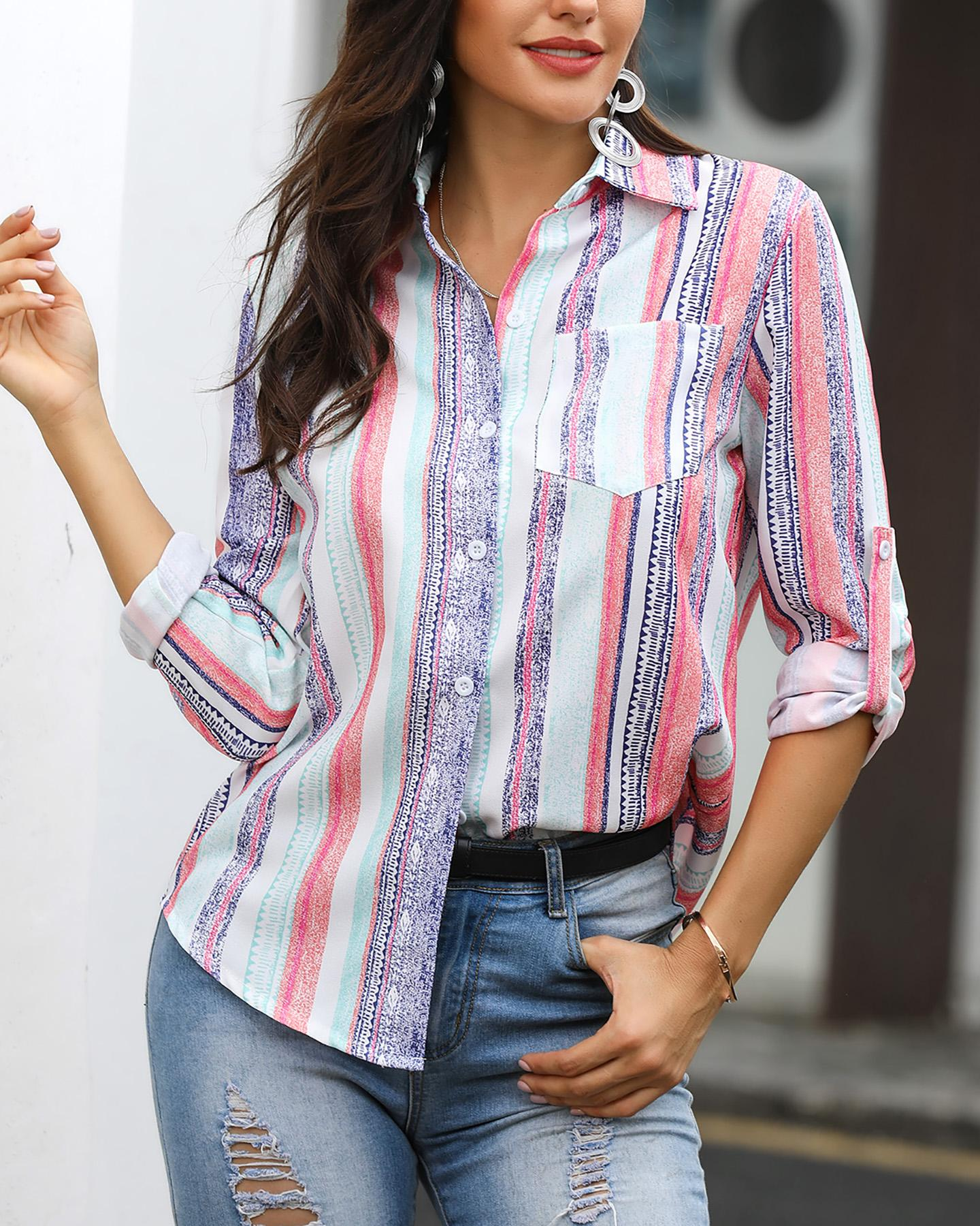 Colorful Stripes Long Sleeve Button Pocket Blouse фото