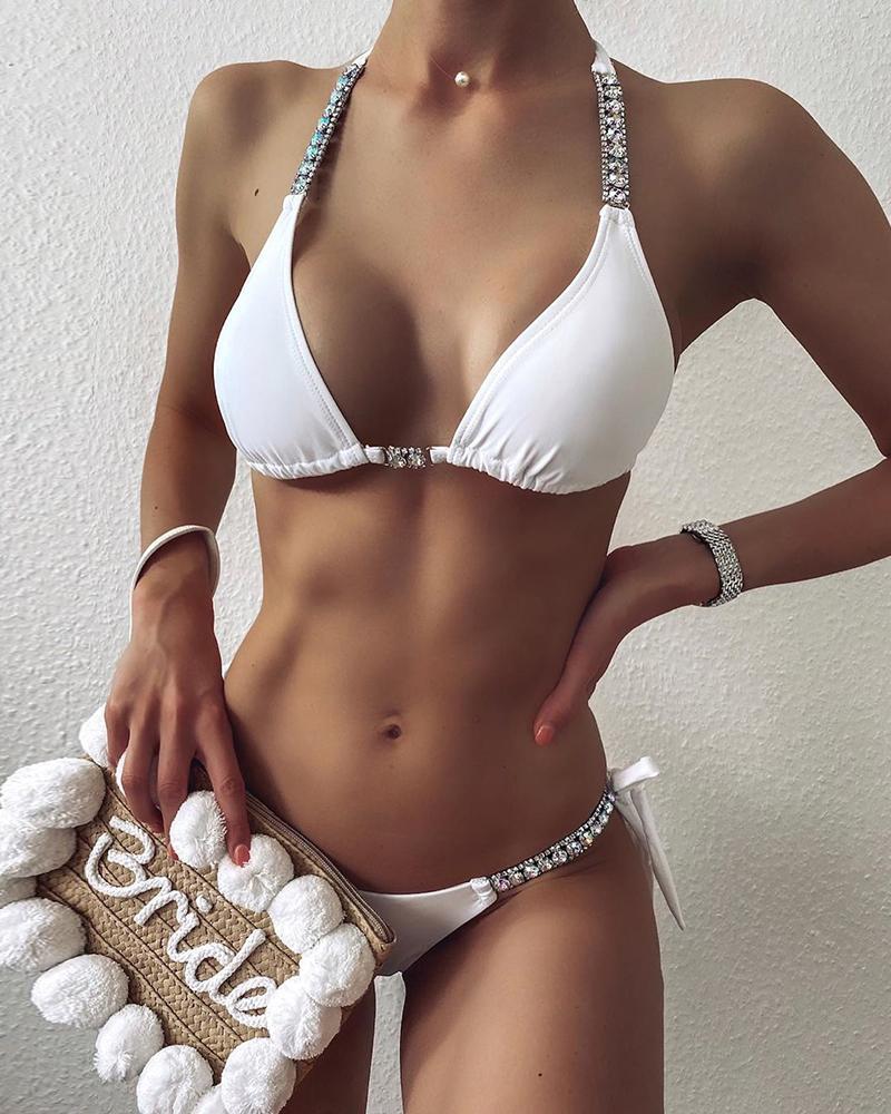 Rhinestone Tied Detail Halter Bikini Set фото