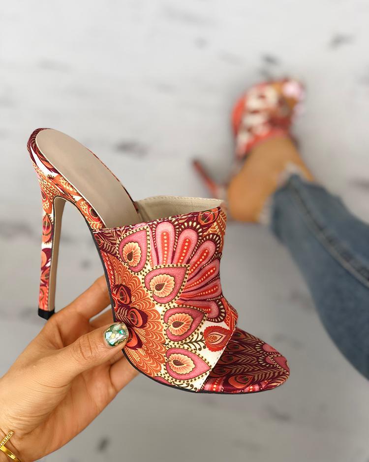 boutiquefeel / Sandalias de tacón delgado con estampado de plumas de pavo real
