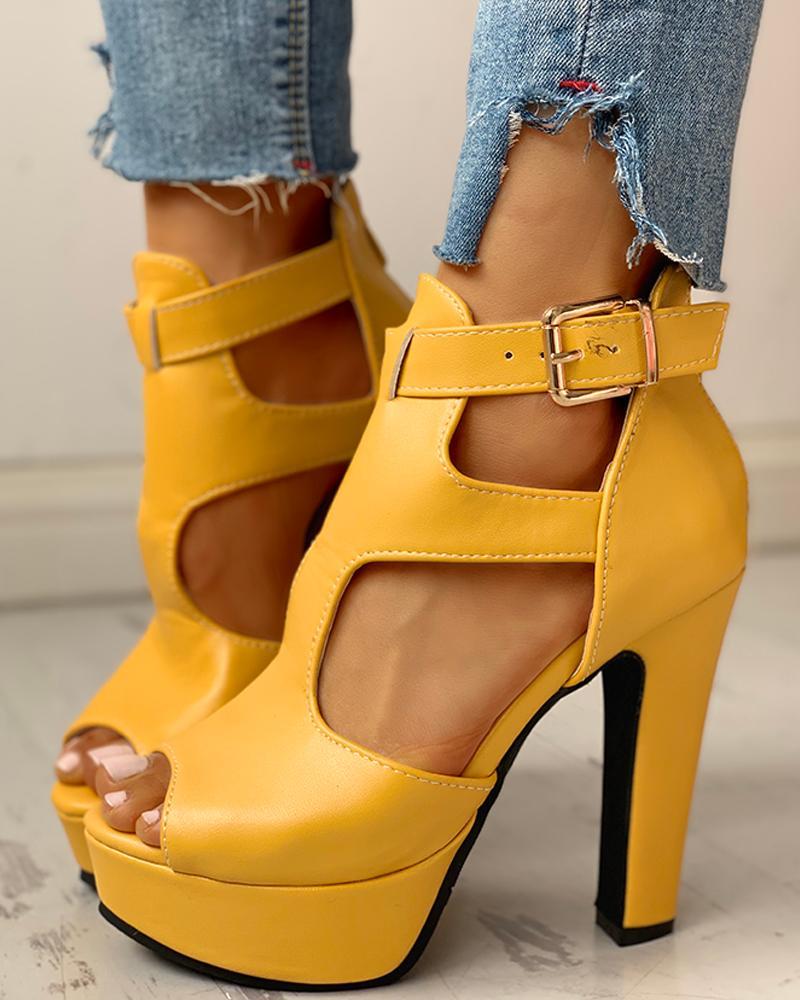 Peep Toe Cutout Platform Chunky Heels фото