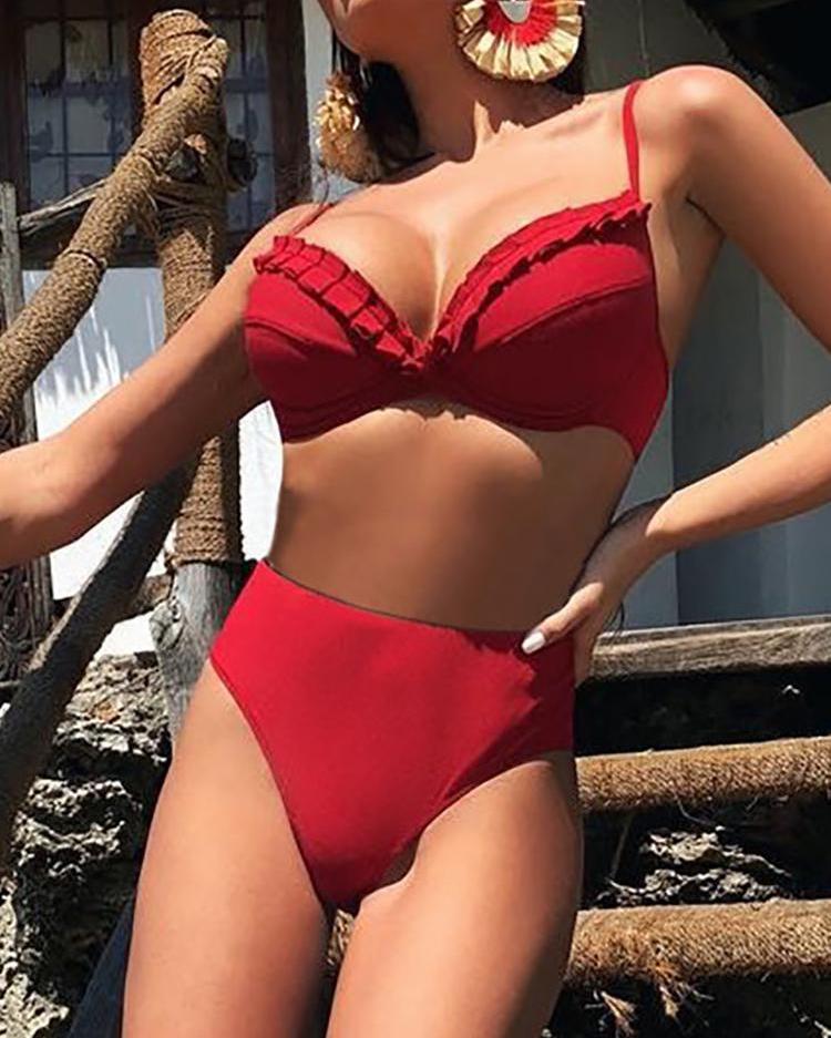 chicme / Bikini de cintura alta con detalle fruncido