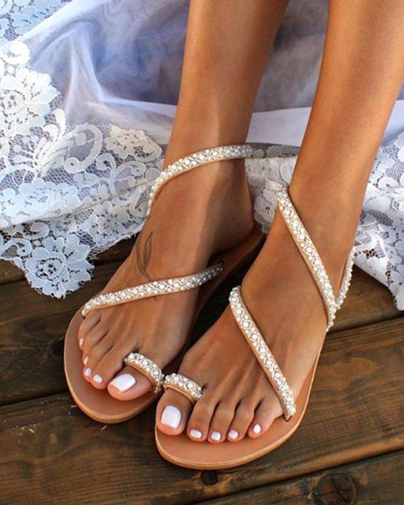 Beaded Design Toe Ring Casual Sandals фото