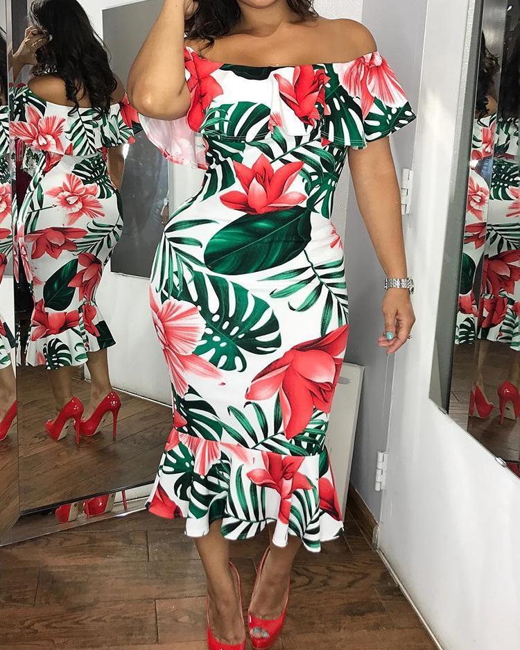 boutiquefeel / Vestido ajustado con estampado floral y dobladillo con volantes en el hombro