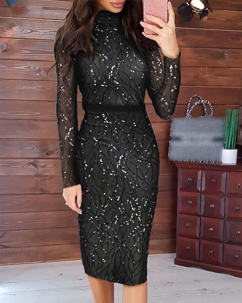 joyshoetique / Long Sleeve Sequin Midi Dress