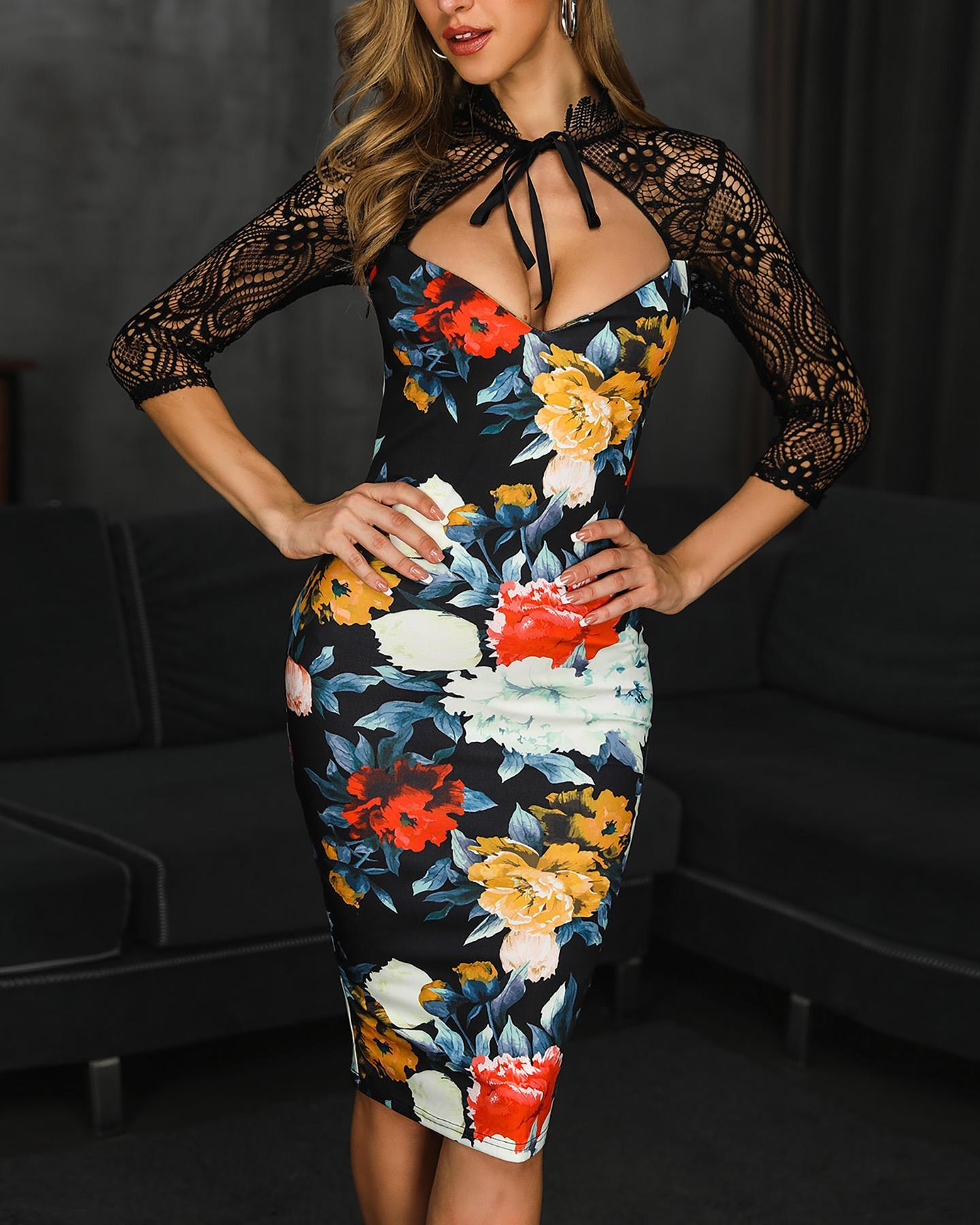 Floral Print Lace Insert Cutout Bodycon Dress