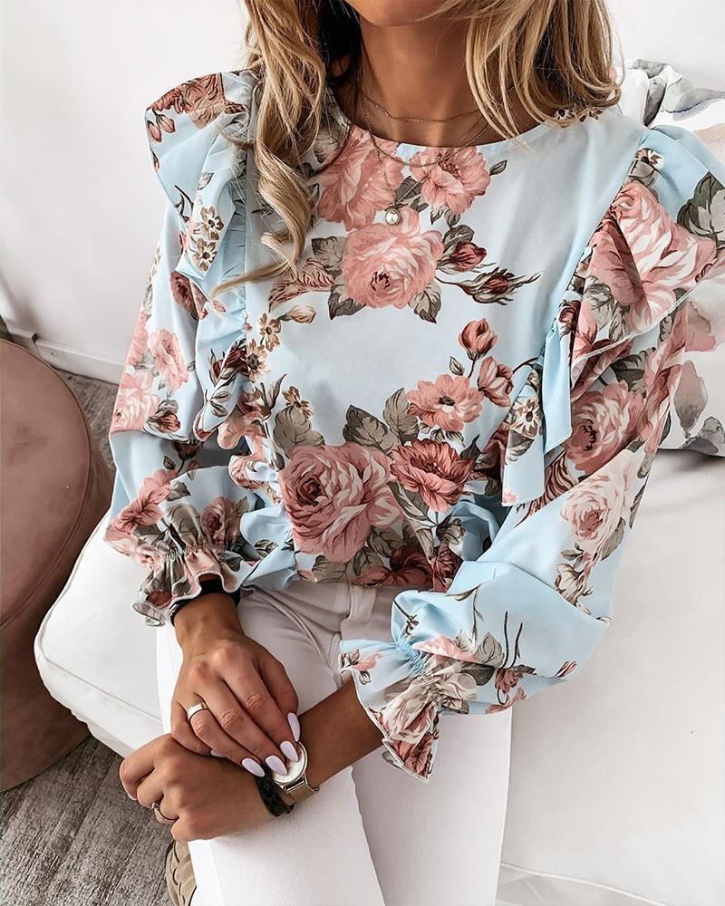 Floral Print Ruffle Trim Top