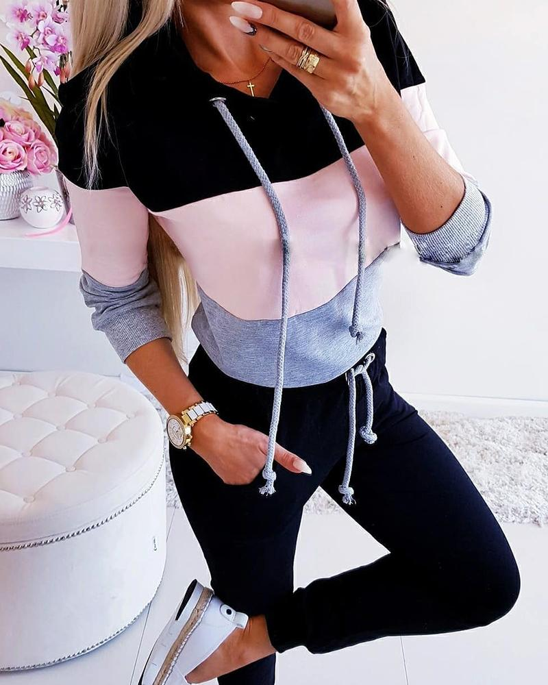 chicme / Striped Colorblock Hooded Top & Drawstring Pants Set