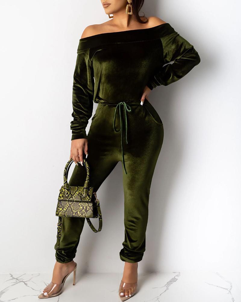 Solid Off Shoulder Long Sleeve Top & Drawstring Pants Sets фото