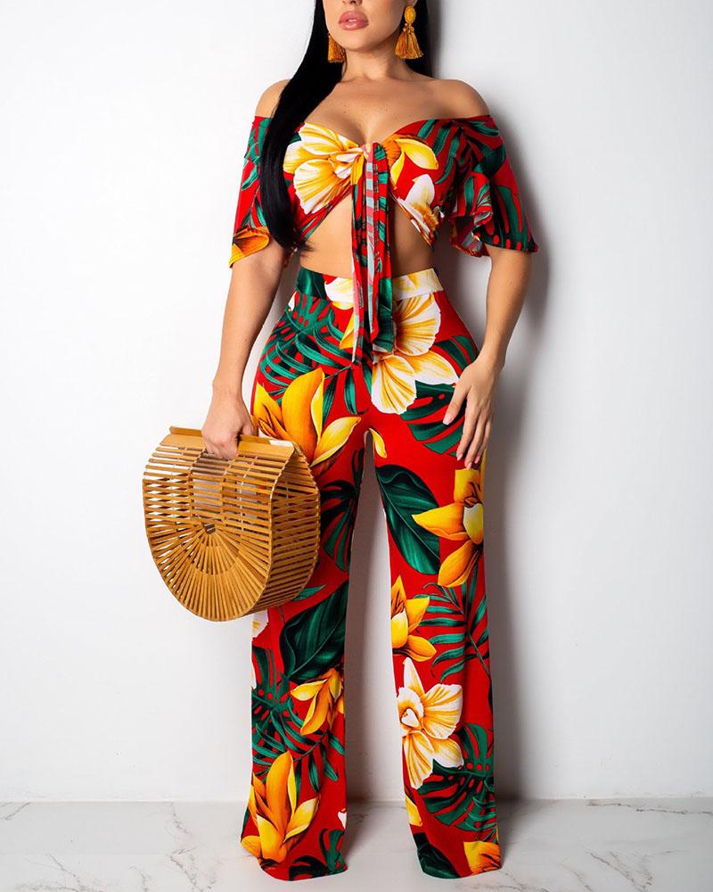 Floral Print Crop Top With Pants Set