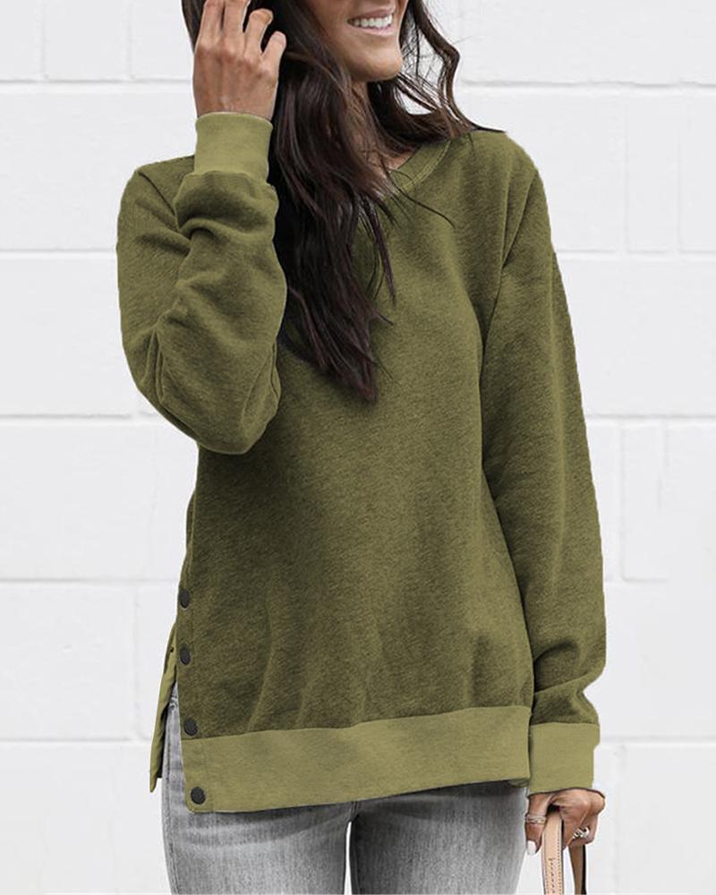 Button Slit Side Long Sleeve Sweatshirt фото