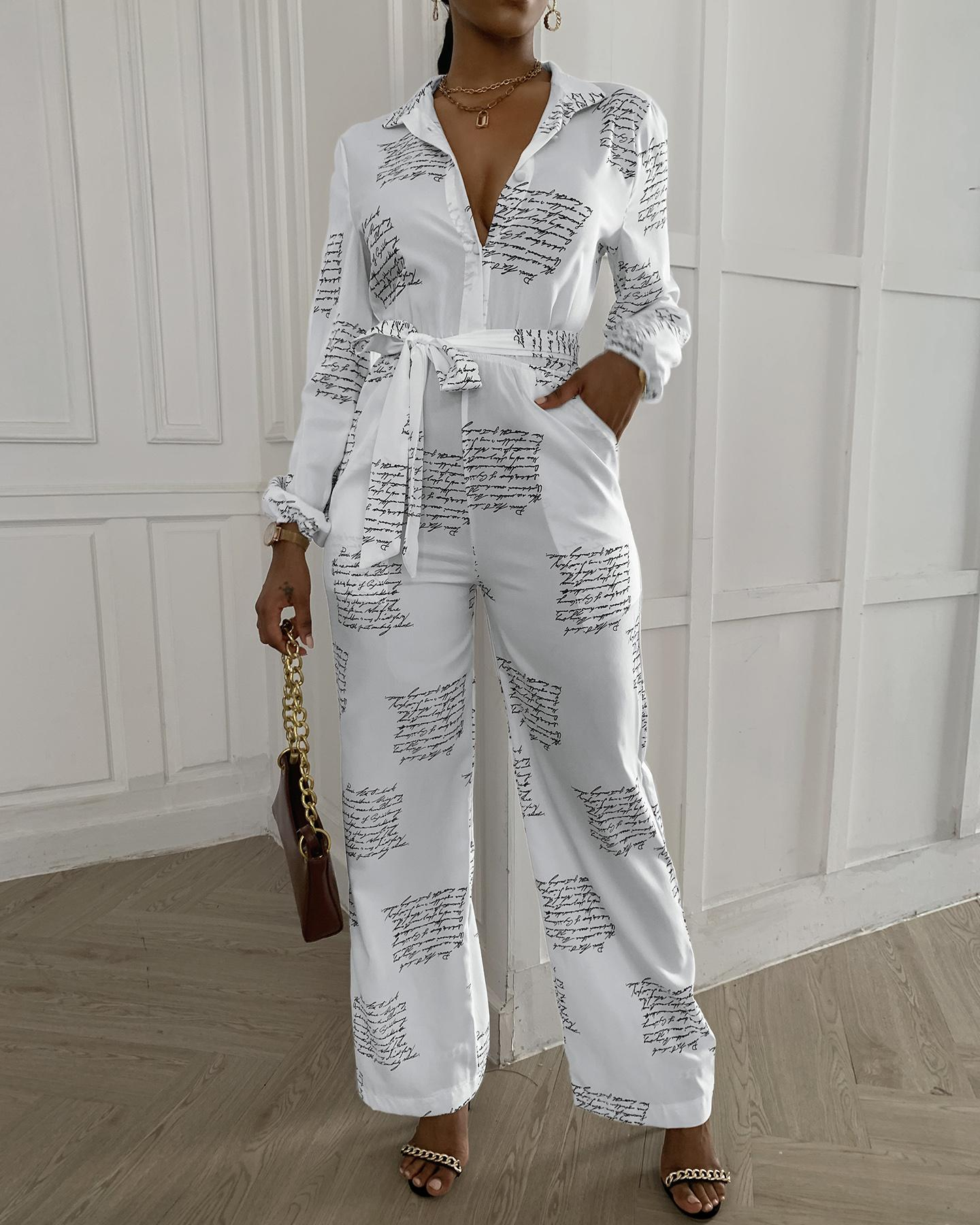Letter Print Casual Knotted Jumpsuit фото