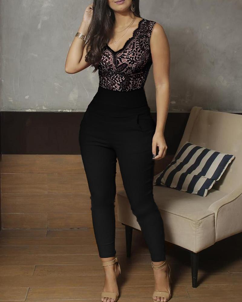 V-Neck Lace Bodice Sleeveless Jumpsuits фото