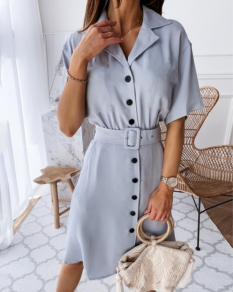 Solid Button Design Short Sleeve Shirt Dress фото