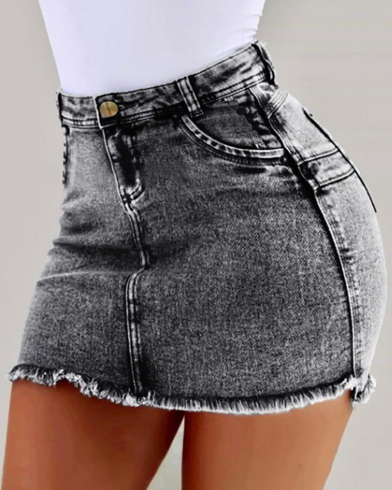 Denim High Waist Mini Skirt фото