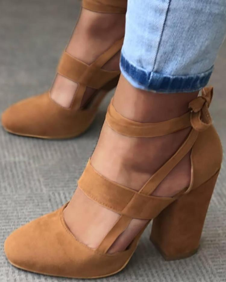 chicme / Fashion Caged Chunky Heels Shoes