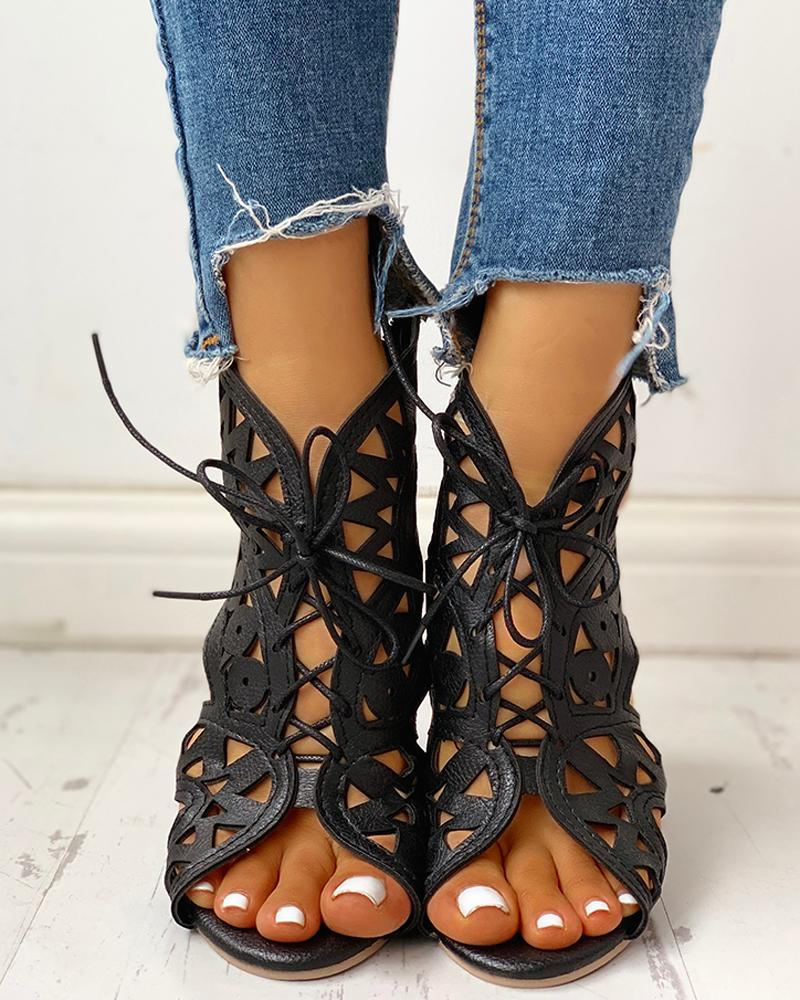 Hollow Out Lace-up PU Wedge Sandals фото