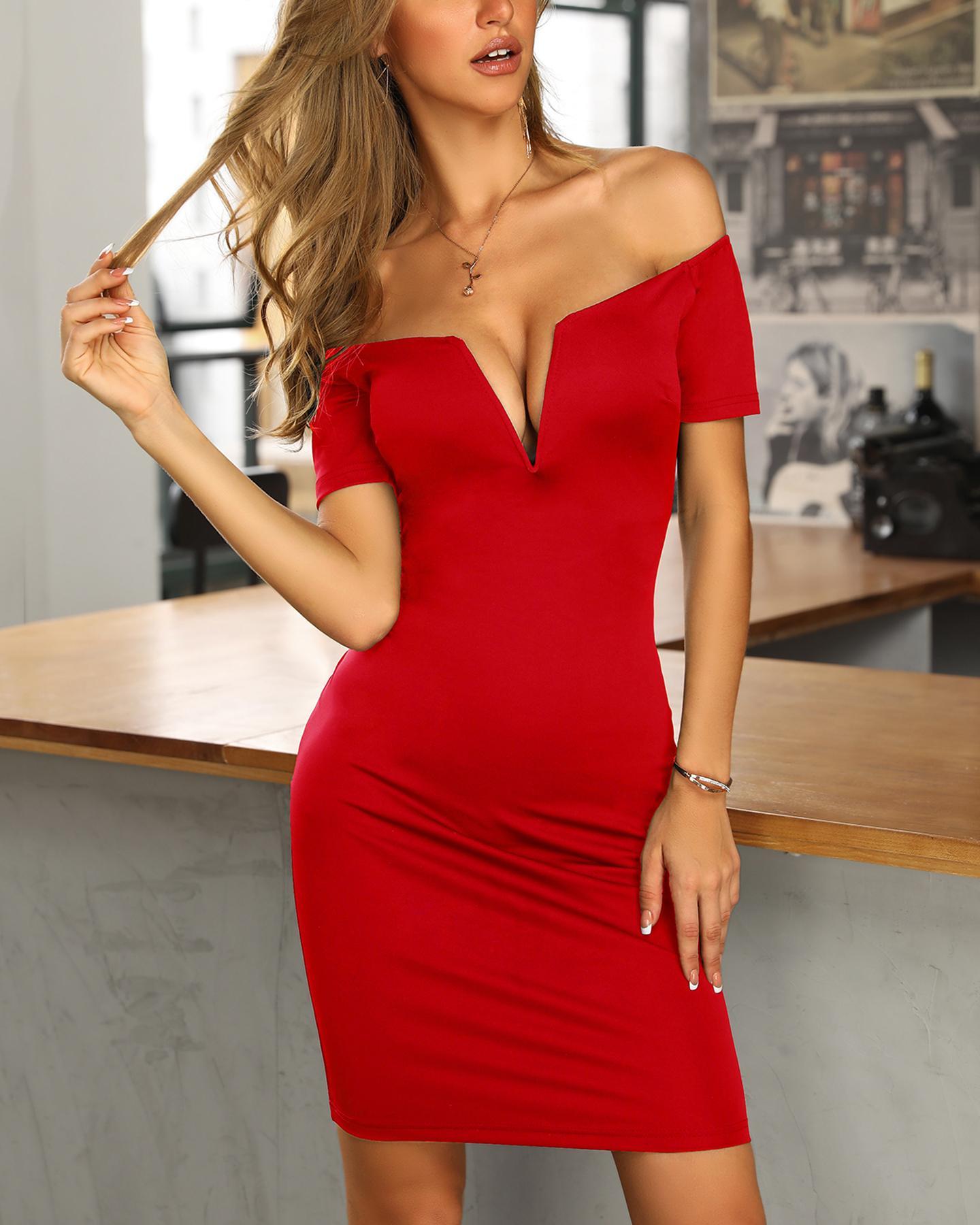 ivrose / Solid Off Shoulder Short Sleeve Bodycon Dress