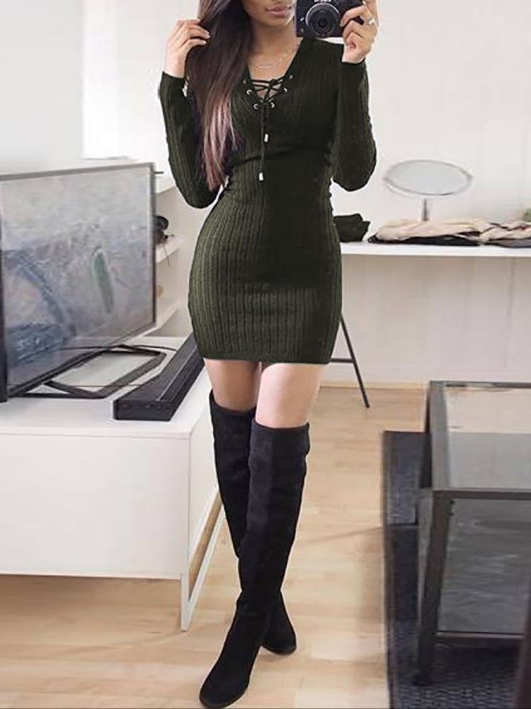 Купить со скидкой Trendy Eyelet Lace-up Slinky Mini Dress