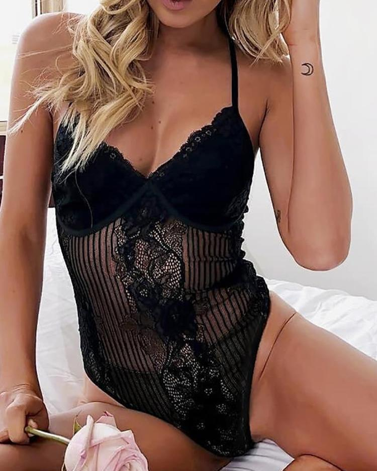 Floral Lace Sheer Teddy Bodysuit фото