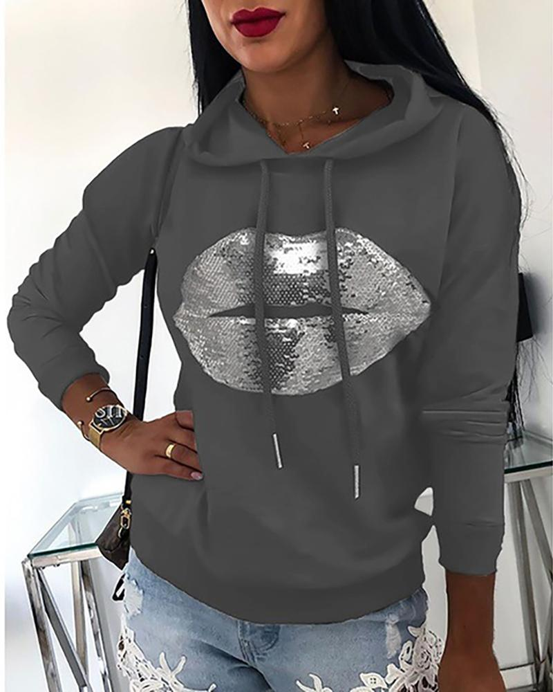Lip Pattern Sequins Casual Hooded Sweatshirt фото