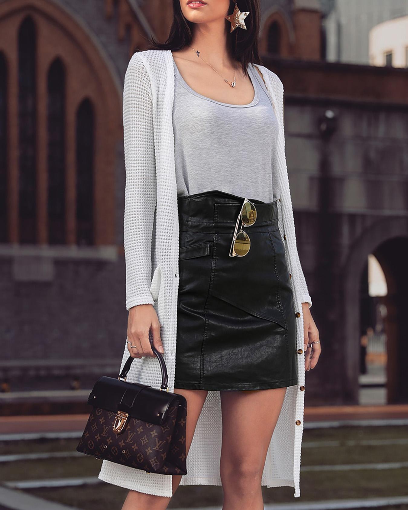 boutiquefeel / Abrigo largo con diseño de bolsillo abierto y bolsillo abierto