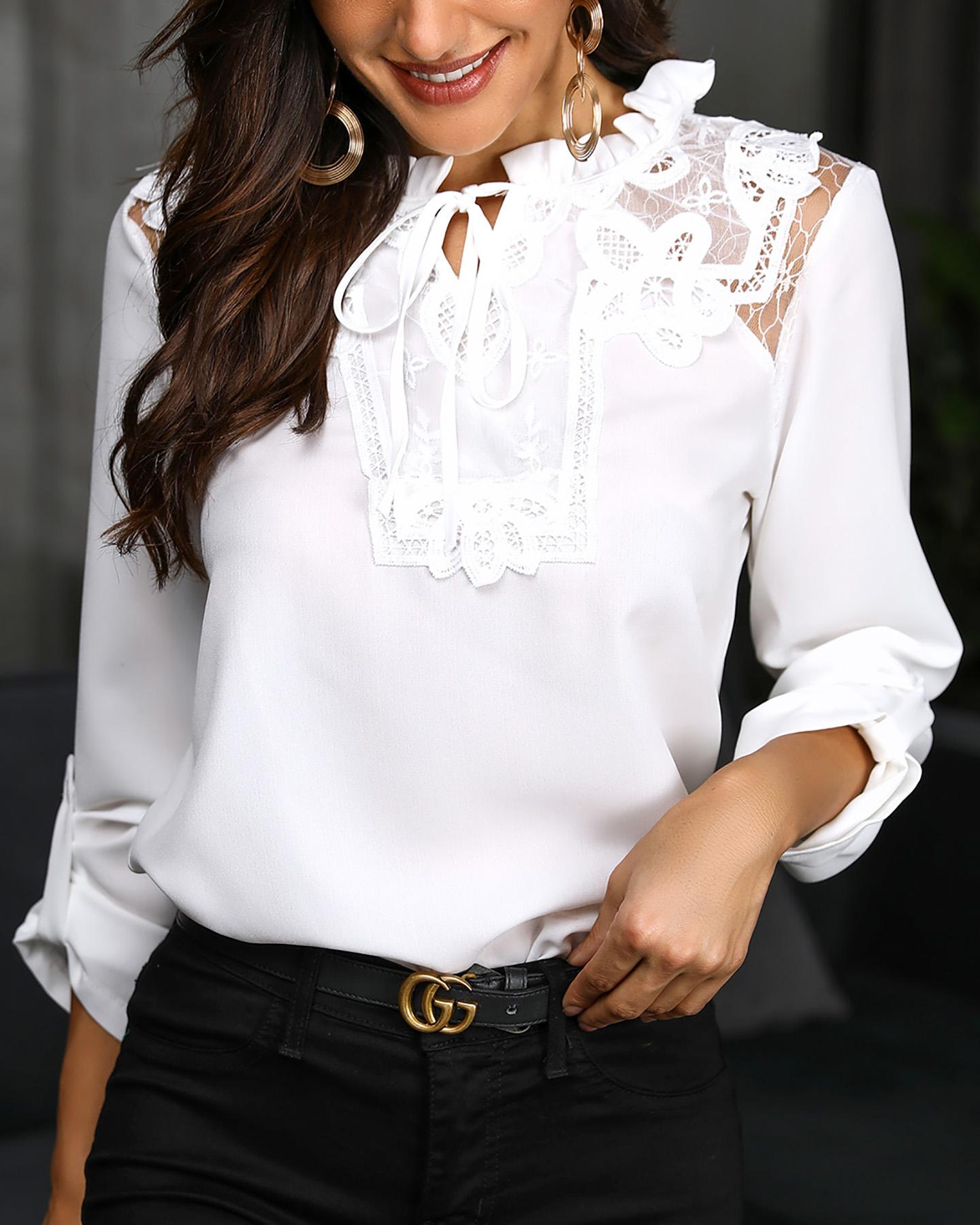 Lace Insert Frill Hem Casual Blouse