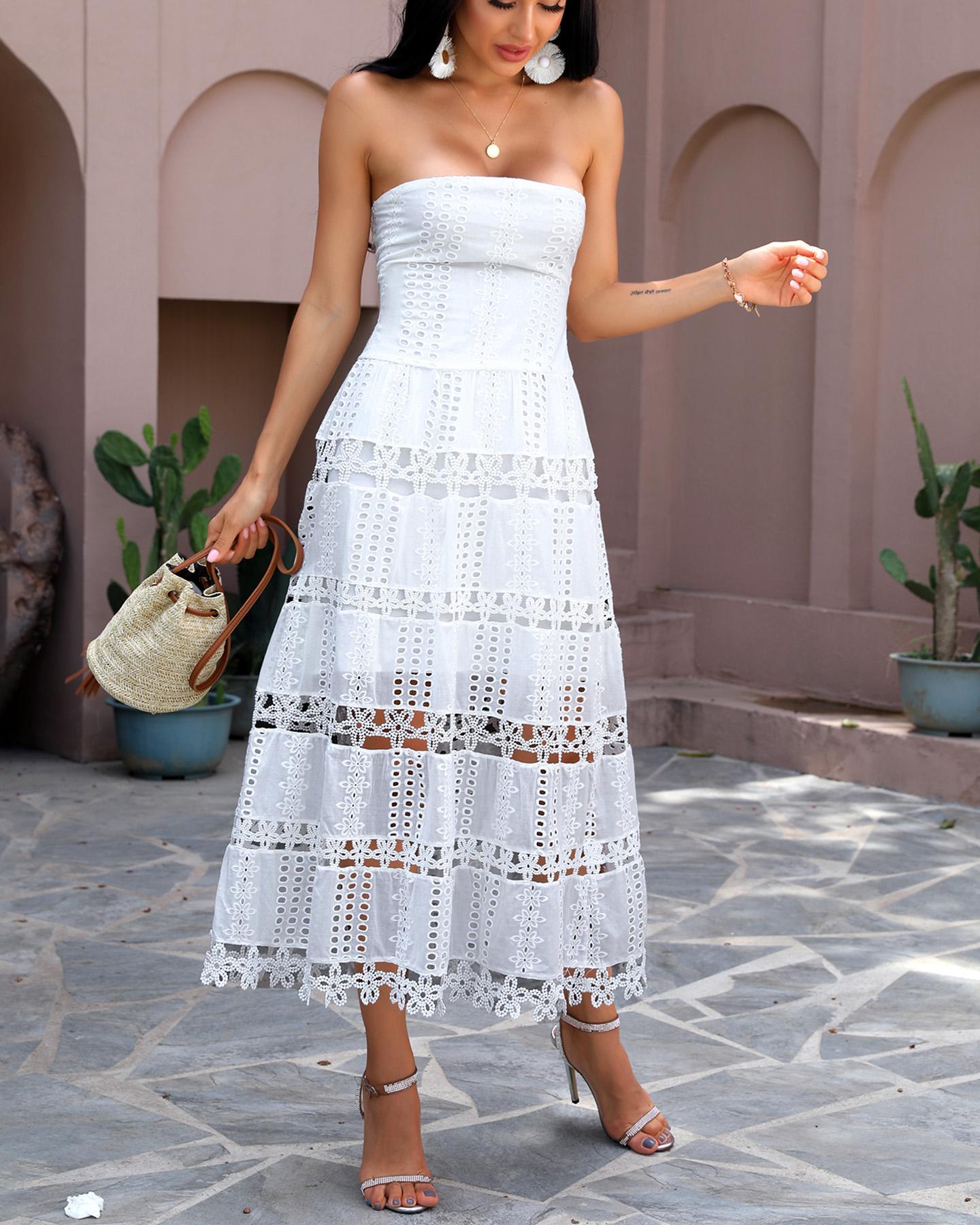 boutiquefeel / Vestido largo con detalle de flores ahuecadas y bandeau